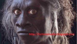 Rekonstruksi wajah Homo florensiensis, spesies orang pendek di Flores (floresgirl.com)